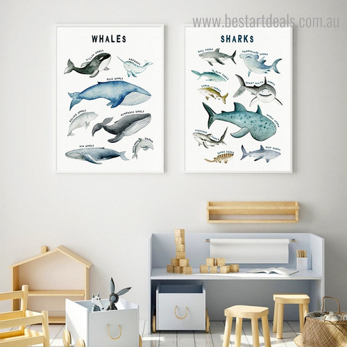Whales Sharks Animal Kids Modern Framed Painting Picture Canvas Print for Room Wall Getup