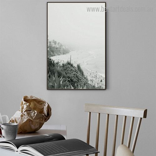 People on Seacoast Nature Modern Framed Effigy Portrait Canvas Print for Room Wall Outfit