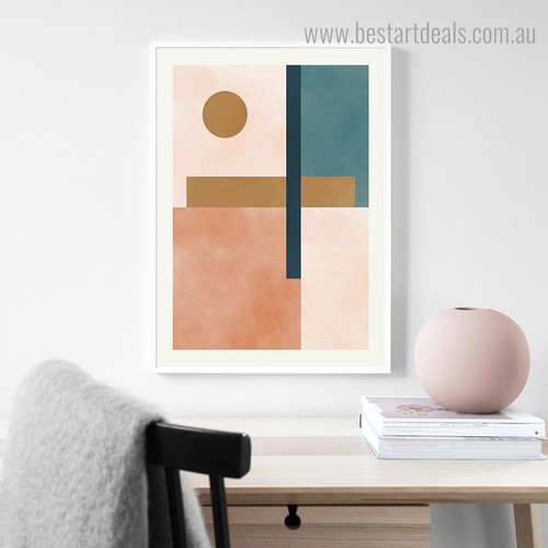 Colorful Bold Lines Abstract Modern Framed Effigy Image Canvas Print for Room Wall Garnish