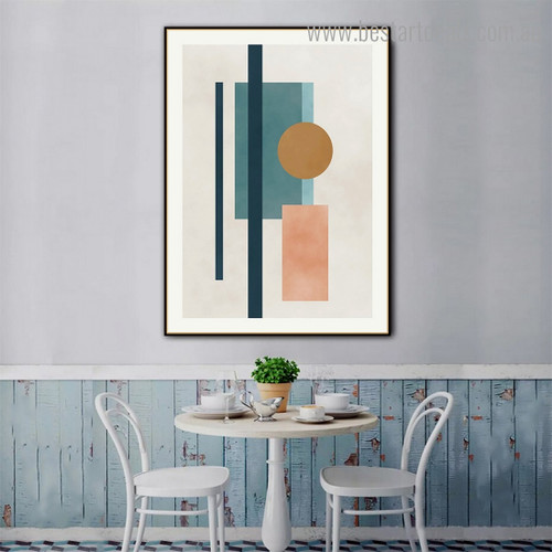 Circle and Boxes Abstract Modern Framed Effigy Image Canvas Print for Room Wall Garnish