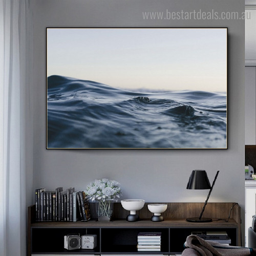 Flowing River Landscape Modern Framed Painting Photo Canvas Print for Room Wall Getup
