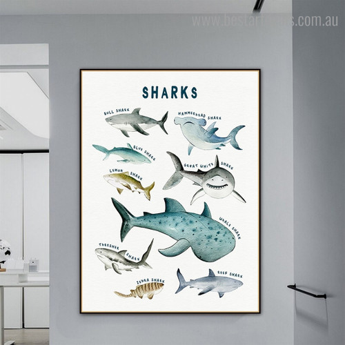 Sharks Animal Kids Modern Framed Painting Photograph Canvas Print for Room Wall Finery
