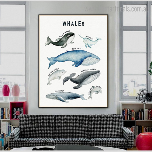 Whales Animal Kids Modern Framed Painting Photo Canvas Print for Room Wall Decoration