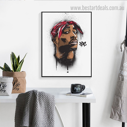 Tupac Shakur Hollywood Figure Framed Artwork Picture Canvas Print for Room Wall Decoration
