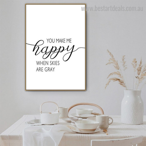 Happy Quote Modern Framed Painting Photo Canvas Print for Room Wall Tracery