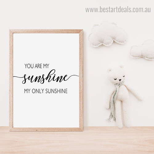 Sunshine Quote Modern Framed Painting Photograph Canvas Print for Room Wall Tracery