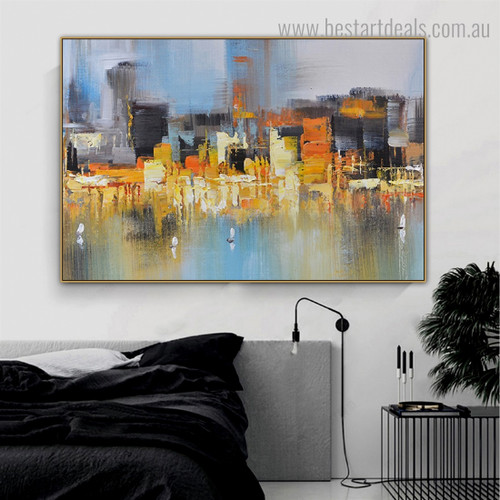 Multicolored Burg Abstract City Modern Framed Artwork Picture Canvas Print for Room Wall Adornment