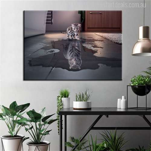 Cat Reflection Painting Print
