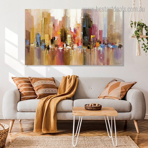 Colorful Town Abstract City Modern Framed Artwork Portrait Canvas Print for Room Wall Adornment