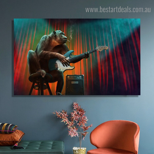 Orangutan Guitar Abstract Animal Framed Painting Image Canvas Print for Room Wall Onlay
