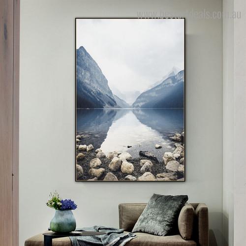 Blue Loch Landscape Modern Framed Artwork Photo Canvas Print for Room Wall Getup