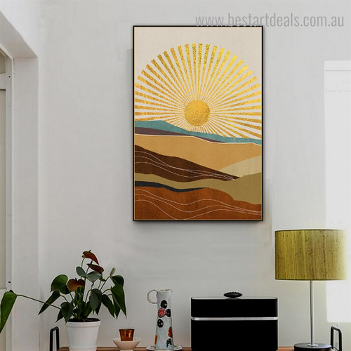 Shiny Sun Landscape Nature Framed Painting Image Canvas Print for Room Wall Tracery
