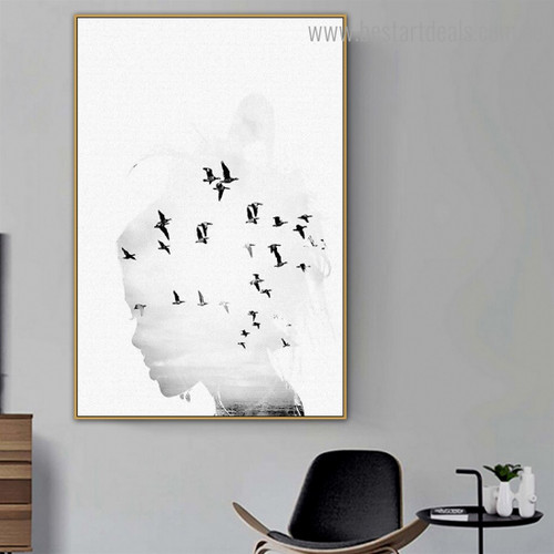 Monochrome Birds Abstract Figure Modern Framed Artwork Pic Canvas Print for Room Wall Decoration