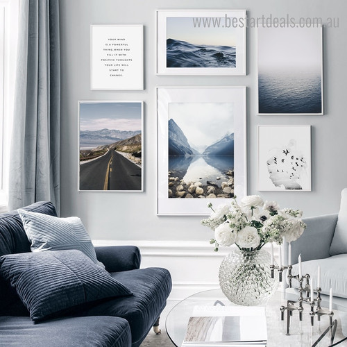 Roadway Landscape Modern Framed Artwork Portrait Canvas Print for Room Wall Tracery