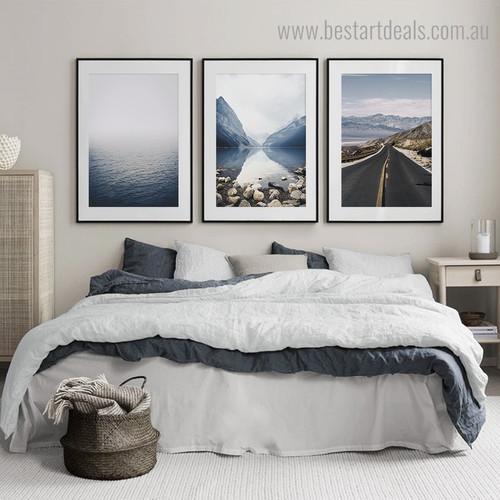 Blue Lake landscape Modern Framed Artwork Portrait Canvas Print for Wall Hanging Decor