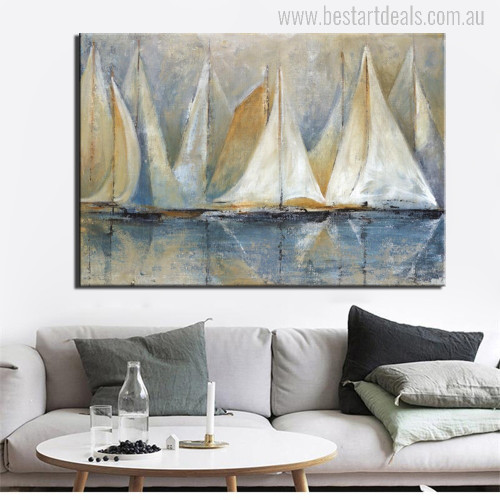 Seascape Sailboat Painting Print for Room Wall Decor