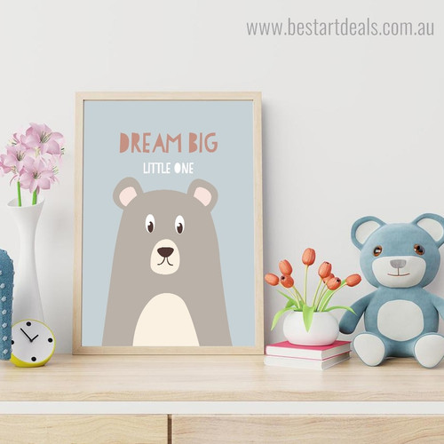 Cartoon Bear Animal Quote Framed Artwork Image Canvas Print for Room Wall Ornament