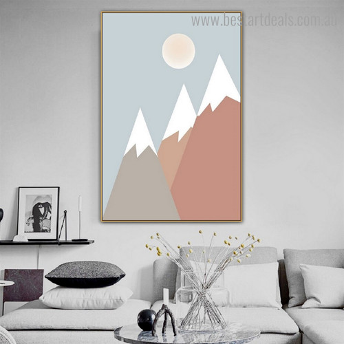 Multicolored Mountains Landscape Kids Framed Painting Photo Canvas Print for Wall Hanging Decor