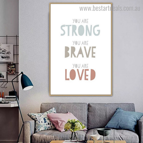 You are Brave Quote Kids Framed Painting Photograph Canvas Print for Wall Hanging Decor