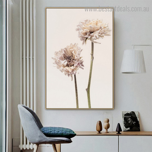 Scabiosa Florets Abstract Floral Modern Framed Artwork Image Canvas Print for Room Wall Outfit