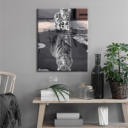 Cat Tiger Reflection Painting Print