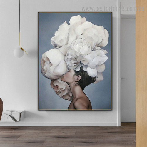 White Bloom Girl Figure Floral Modern Framed Painting Photo Canvas Print for Room Wall Garnish