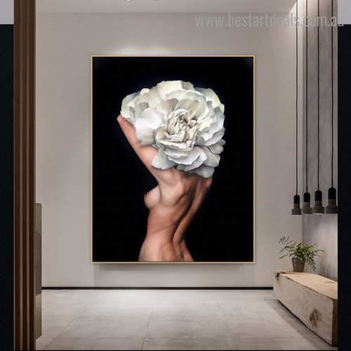 Naked Floral Lady Figure Modern Framed Painting Photo Canvas Print for Room Wall Getup