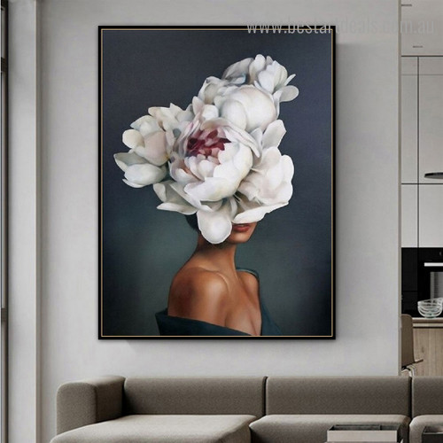 Woman Flower Head Figure Floral Modern Framed Painting Image Canvas Print for Room Wall Tracery