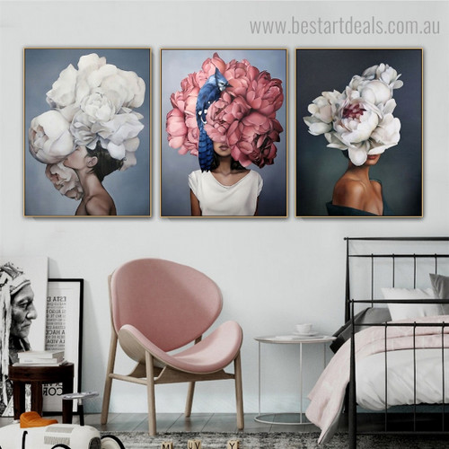 Female Blossoms Pate Figure Floral Modern Framed Painting Photo Canvas Print for Room Wall Decor