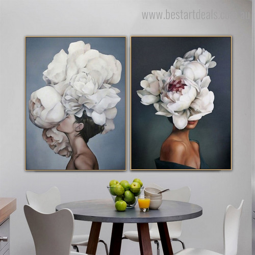 White Florets Topknot Figure Floral Modern Framed Painting Portrait Canvas Print for Room Wall Decoration