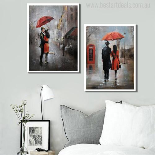 Lovers Rain Painting Print