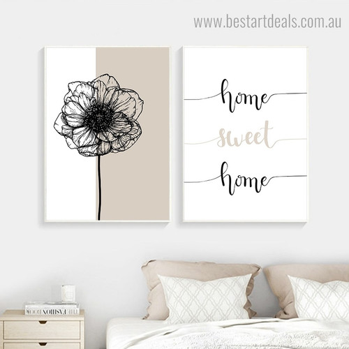 Home Sweet Home Quote Modern Framed Artwork Photo Canvas Print for Room Wall Disposition