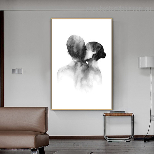 Couple Kiss Abstract Modern Framed Artwork Photo Canvas Print for Room Wall Tracery