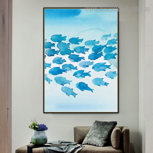 Blue Fishes Abstract Animal Kids Framed Artwork Picture Canvas Print for Room Wall Disposition