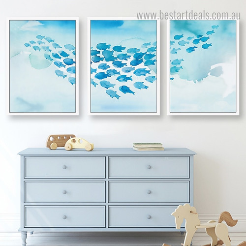 Fishes Group Abstract Animal Kids Framed Artwork Picture Canvas Print for Room Wall Ornamentation