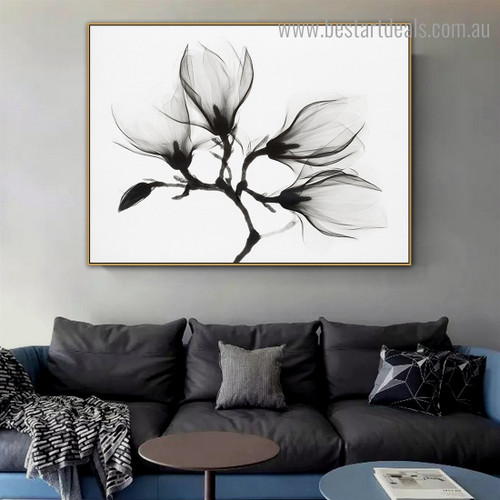 Magnolia Floral Vintage Framed Painting Photo Canvas Print for Room Wall Decoration