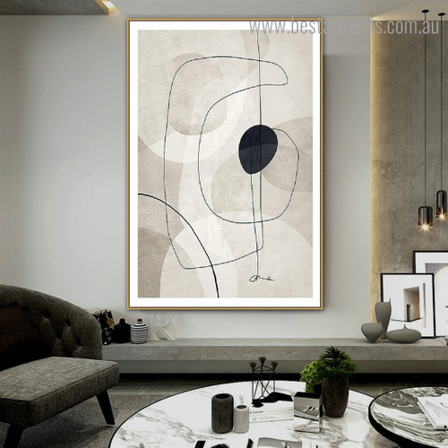 Curved Line Shape Abstract Framed Painting Image Canvas Print for Room Wall Decoration