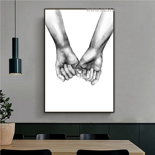 Holding Hands Abstract Framed Artwork Photo Canvas Print for Room Wall Garniture