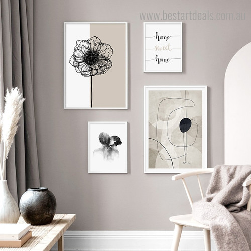 Home Sweet Abstract Quote Framed Artwork Photograph Canvas Print for Room Wall Getup