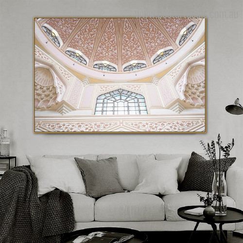 Putra Mosque Religious Framed Artwork Photograph Canvas Print for Room Wall Adornment