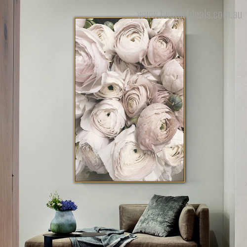 Pink Peonies Floral Framed Painting Image Canvas Print for Room Wall Adornment