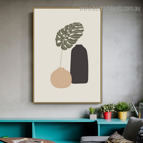Split Leaf Plant Abstract Botanical Modern Framed Artwork Picture Canvas Print for Room Wall Decoration