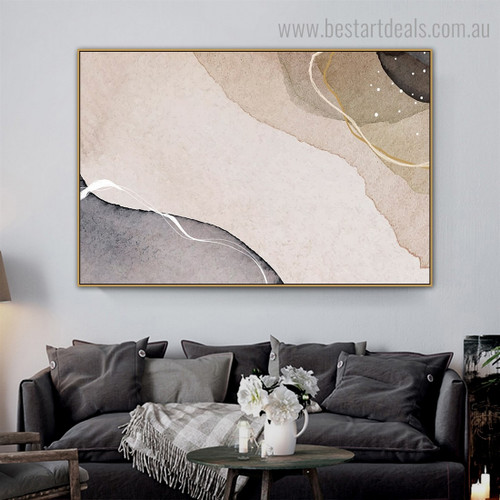 Circuitous Streaks Abstract Modern Framed Artwork Pic Canvas Print for Room Wall Ornament