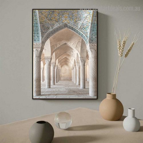 Vakil Mosque Inside Religious Modern Framed Artwork Photograph Canvas Print for Room Wall Outfit