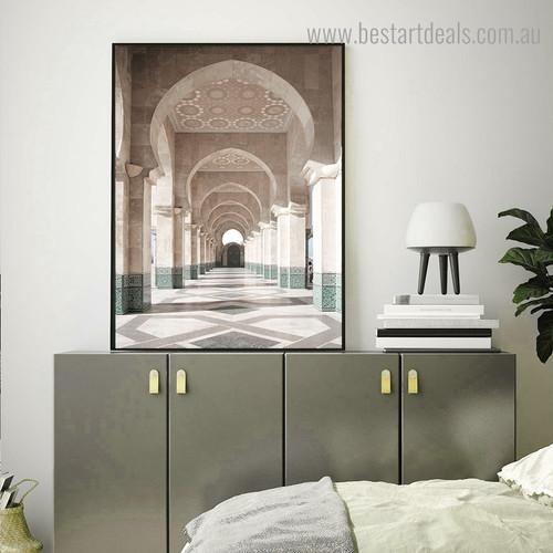 Internal Hassan Mosque Religious Modern Framed Artwork Photo Canvas Print for Room Wall Assortment