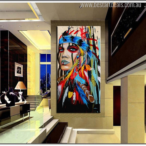 Indian Woman Feathered Pride Painting Print