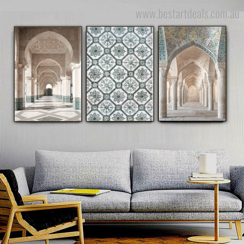 Muslim Mosques Religious Contemporary Framed Artwork Picture Canvas Print for Room Wall Tracery