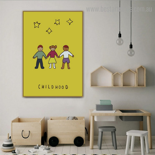 Childhood Abstract Kids Framed Painting Pic Canvas Print for Room Wall Equipment