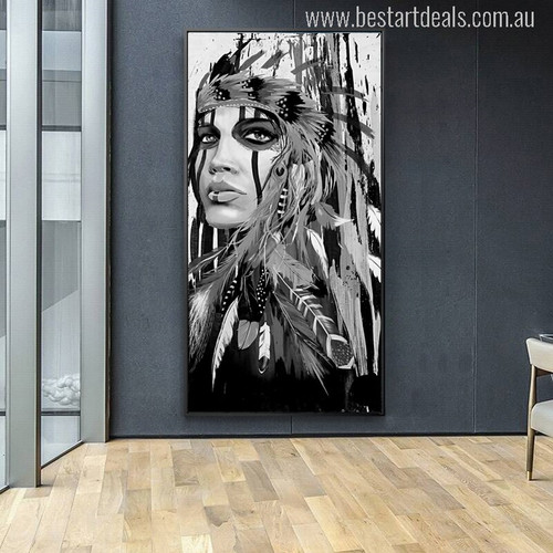 Indian Woman Feathered Pride Painting Canvas Print