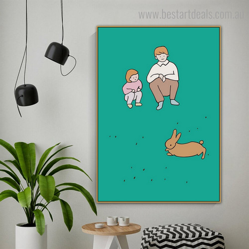 Sitting Girl Abstract Kids Framed Painting Picture Canvas Print for Room Wall Outfit